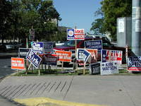 Yard signs signal residents' endorsements to passers by.